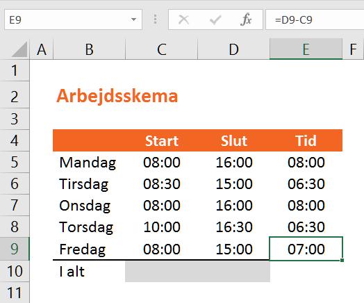 Tidsberegning i Excel