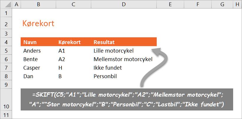 Den nye funktion SKIFT i Excel 2016