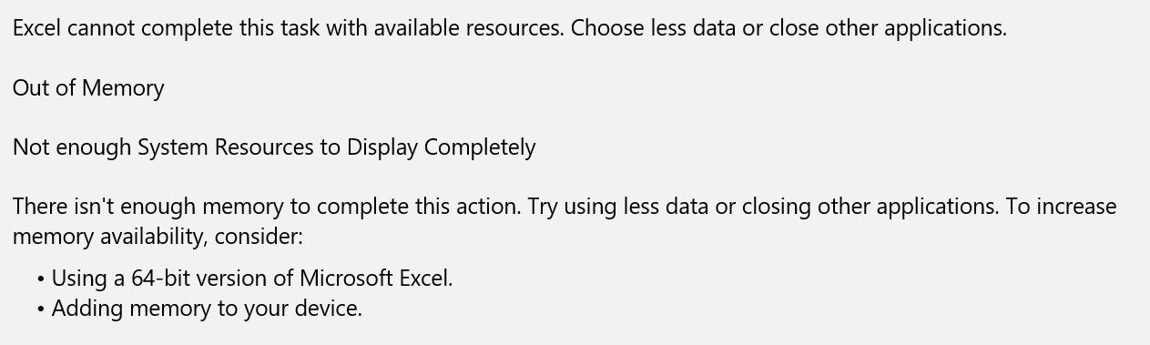 Hukommelsesproblemer i Excel